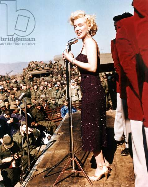 Marilyn Monroe entertaining the troops in Korea, February, 1954.