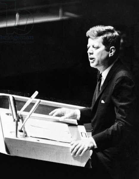 President John Kennedy addresses the UN General Assembly a month before the Cuban Missile Crisis. Sept. 25, 1962