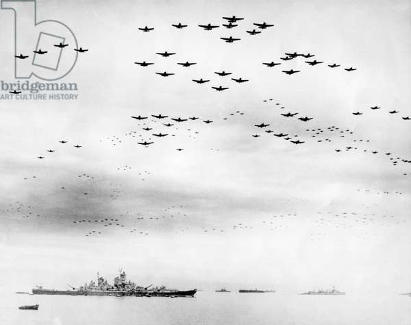 American fighter fly in formation over the USS MISSOURI during surrender ceremonies. Tokyo Bay, Japan. Sept. 2, 1945. World War 2