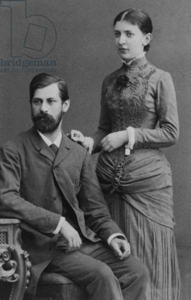 Sigmund Freud (1856-1939), and his fiancee Martha Bernays in June 1885, a year before their marriage