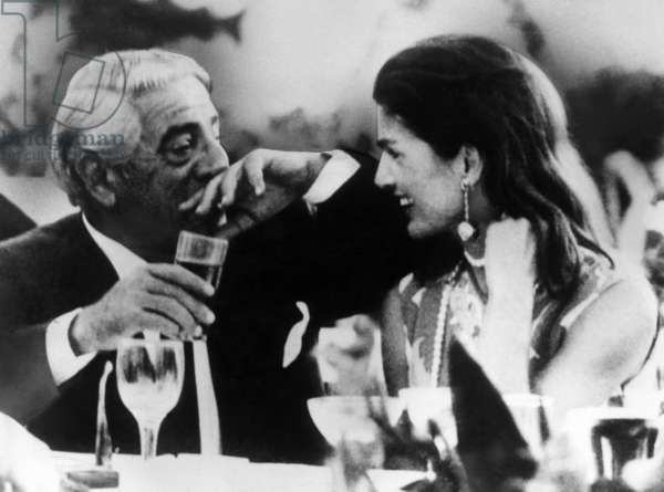 Aristotle Onassis, former First Lady Jacqueline Kennedy Onassis, celebrate her 40th birthday anniversary, Athens, Greece. July 28, 1969
