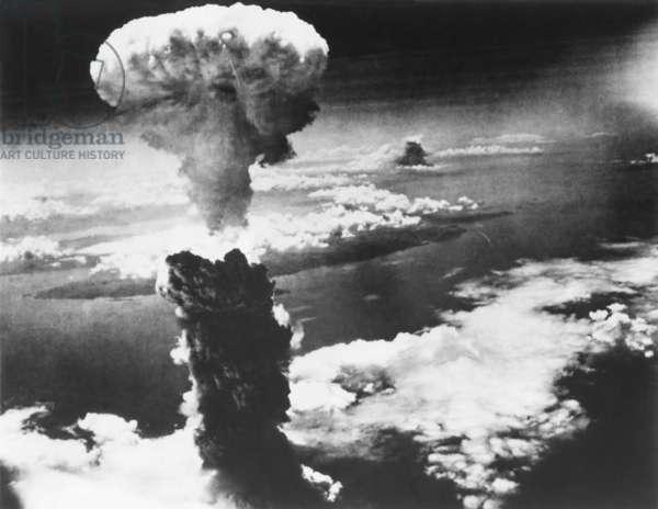 Mushroom Cloud of Atom Bomb exploded over Nagasaki, Japan, on August 9, 1945. World War 2