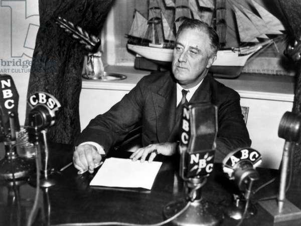 President Franklin Delano Roosevelt, addressing the nation on the radio, 1936