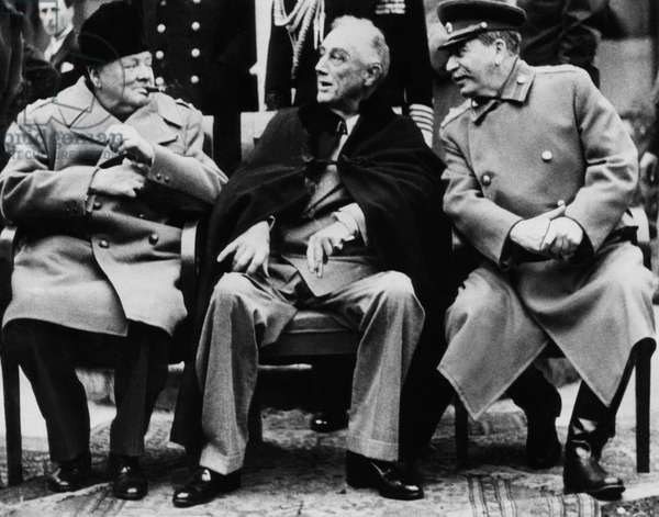 World War II. From left: British Prime Minister Winston Churchill, US President Franklin Delano Roosevelt and Soviet Premier Josef Stalin at the Yalta Conference, February 1945