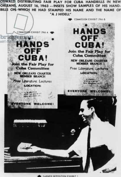 Warren Commission Exhibit. JFK assassin Lee Harvey Oswald distributing Fair Play for Cuba handbills on which he had stamped his name and the name A. J. Hidell