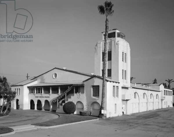 Grand Central Air Terminal, designed by Henry L. Gogerty in 1928, combines Spanish Colonial Revival style with Art Deco Moderne design. The first planes to bear the names of Jack Northrop and Howard Hughes were built at Grand Central Air Terminal. Photograph c.1930s, 1310 Air Way, Glendale, Los Angeles, California