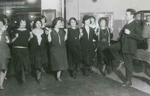 Bernarr Macfadden exhorting employees to exercise in his NYC publishing office, 1922. Macfadden's PHYSICAL CULTURE magazine of 1899 grew into a publishing empire, detective, romance, movie, and sports magazines