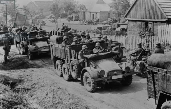German soldiers invade Poland in armored and motorized divisions in Sept. 1939. It was the beginning of World War 2. in Europe
