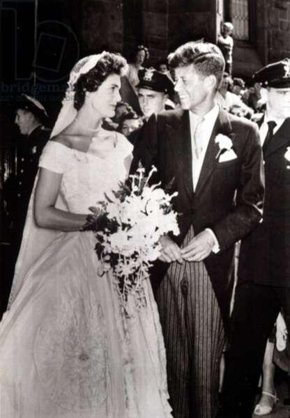 Jacqueline Bouvier and John F. Kennedy's wedding in Newport, Rhode Island, in 1953