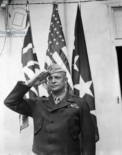 General Dwight D. Eisenhower saltuing the British, American, and the General's Flags, May 8, 1943