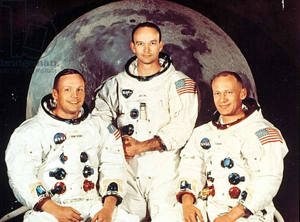 APOLLO 11 CREW, NEIL ARMSTRONG, MICHAEL COLLINS, EDWIN (BUZZ) ALDRIN, prior to their mission to the moon, July 1969