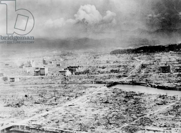 "Atomic bomb. Hiroshima, Japan after the atomic bomb was dropped by the US bomber ""Enola Gay"", 1945"
