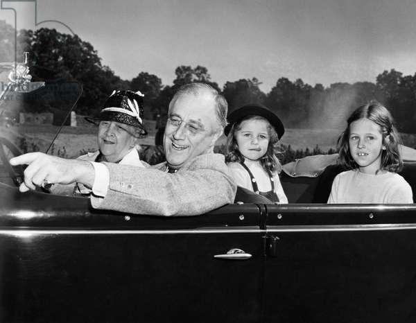 FDR Presidency. From left: Sara Delano Roosevelt (mother of FDR), US President Franklin Delano Roosevelt, grandchildren of FDR Kate Roosevelt, Sally Roosevelt, c.late 1930s