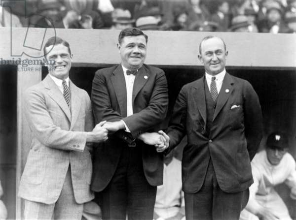 George Sisler, Babe Ruth and Ty Cobb shaking hands at the 1924 World's Series, 1924