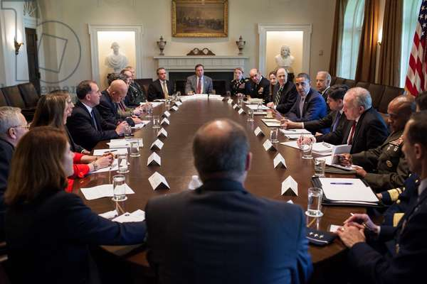 President Obama meets with U.S. intelligence officials in the Cabinet Room of the White House. April 17, 2012