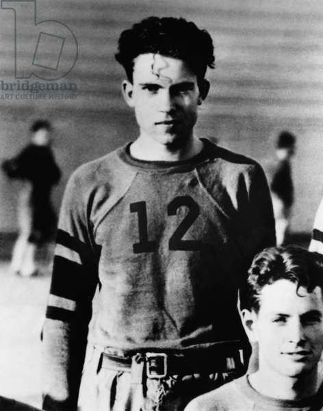 Richard Nixon. Future US President Richard Nixon, on the Whittier College football team, Whittier, California, c.early 1930s