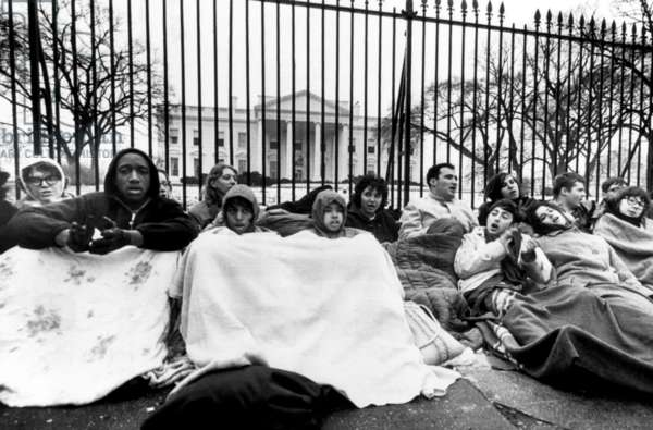 Civil rights demonstrators at an all-night vigil in front of the White House. They want President Johnson to provide federal protection for black people in Alabama, 1965