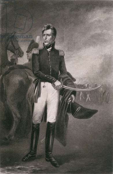 Andrew Jackson as the hero of New Orleans in the War of 1812. After a 1819 painting by John Vanderlyn