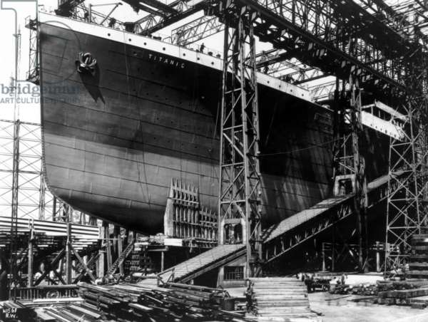 The RMS Titanic under construction. Built with a double bottom it was two city blocks long and 92 feet wide, c. 1910