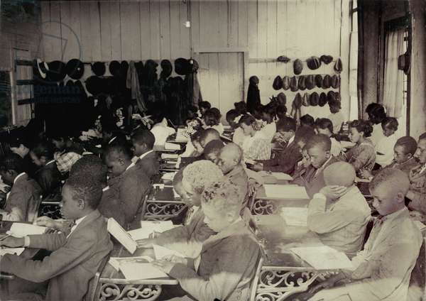 African American High School, original caption: '75 Sixth Grade children (colored) crowded into 1 small room in an old store building near Negro High School, with one teacher', Muskogee, Oklahoma, photograph by Lewis Wickes Hine, March, 1917