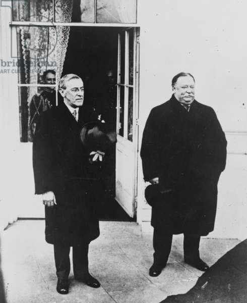Ex-William Howard Taft (1857-1930) with newly inaugurated President Woodrow Wilson (1856-1924) following inaugural ceremonies on March 4, 1913