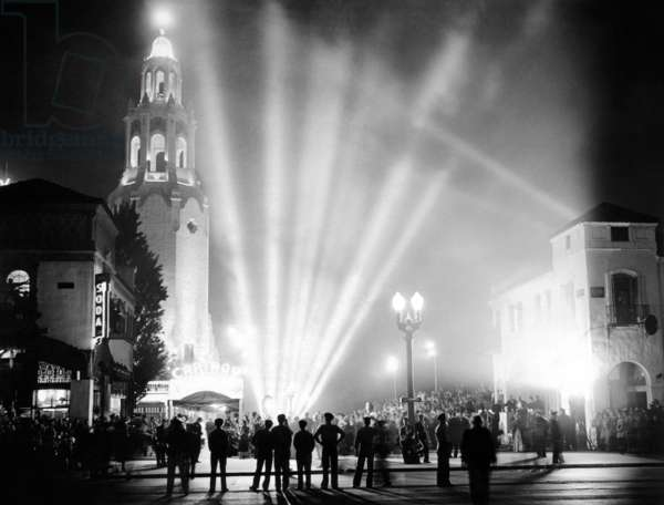 Carthay Circle Theatre during a dramatically lit Hollywood Premier. It was one of the most famous movie palaces of Hollywood's Golden Age. May 19, 1937
