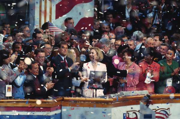 1996 Democratic National Convention in Chicago, Aug. 26-29. President Bill Clinton, Hillary Clinton, Vice President Al Gore, Senator Paul Simon and others on stage celebrating the nomination of Bill Clinton