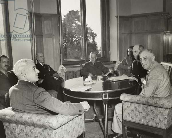 President Franklin Roosevelt and Americans at the WW2 Yalta Conference. Feb. 4, 1945.
