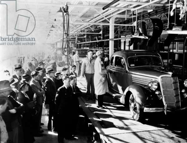 Cars. Ford Motor Company Long Beach Assembly Plant, Los Angeles, c. Finished cars at the end of the assembly line, Apr 24, 1936
