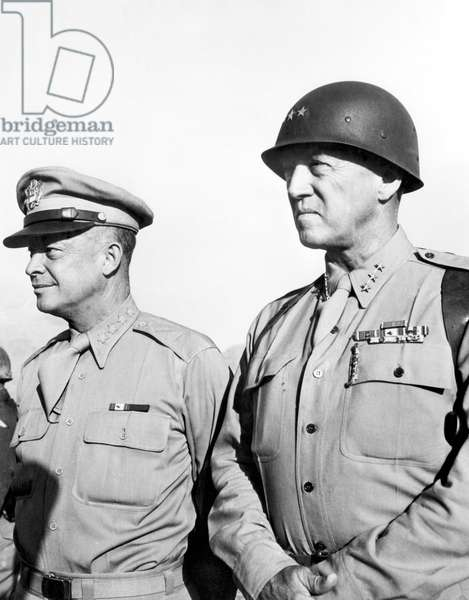 General Dwight Eisenhower, General George Patton, c. 1940's.