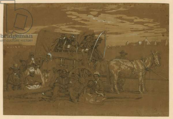 Arrival of an African American family in a Union army camp in January 1863, in a horse drawn covered wagon. Sketch by Alfred R. Waud, probably from a photograph, by David B. Woodbury on January 1, 1863, the day Lincoln's Emancipation proclamation went into effect