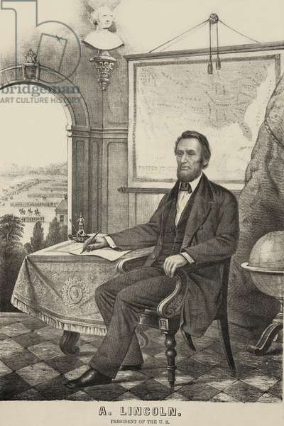 Popular print of President Lincoln made during his first term. He is shown writing, perhaps a reference to the Emancipation Proclamation, with a map of the Union, and troops drilling in the distance. c. 1862-64