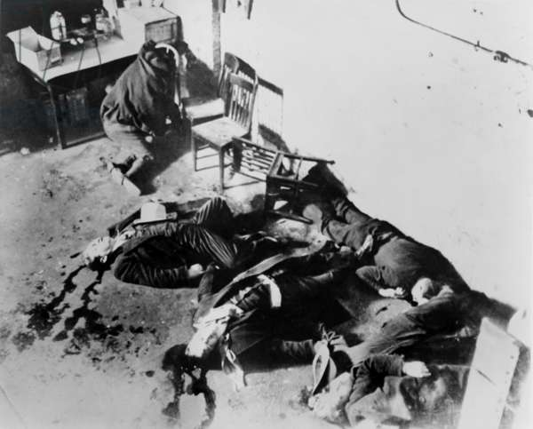 St. Valentine's Day Massacre. Seven gangsters of Bugs Mor an's gang were killed by Al Capone's in a garage in Chicag o on Feb 14, 1929. Overhead view. o on Feb 14, 1929. Overhead view. o on Feb 14, 1929. Overhead view. o on Feb 14, 1929. Overhead view