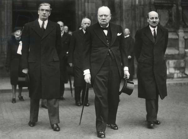British leaders leaving the Westminster Abby memorial service for David Lloyd George, 1945