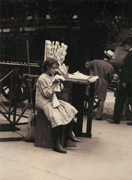 Child labor, Minnie Paster, 10 years old, tending news stand at Bowery and Bond street, New York, photograph by Lewis Wickes Hine, July, 1910