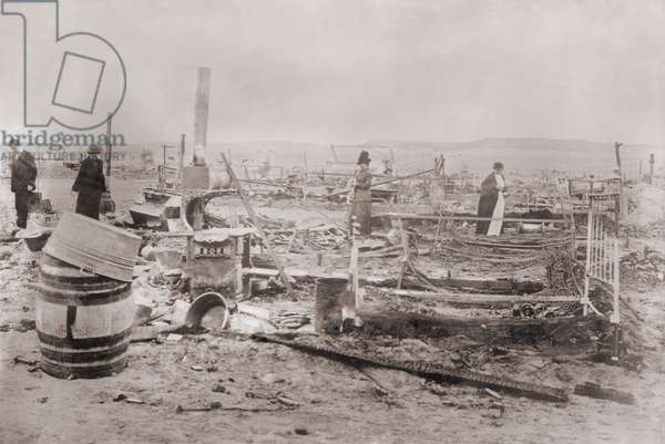 Ruins Ludlow Colony after the killing of 19 people, including women and Children, in a Colorado National Guard attack on a tent city of striking coal miners at Trinidad, Colorado on April 20, 1914. They were striking the Colorado Fuel and Iron Company, owned by John D Rockefeller Jr.'s Standard Oil