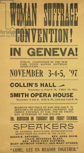 Woman Suffrage Convention! In Geneva!, November 3-5, 1897 (poster)