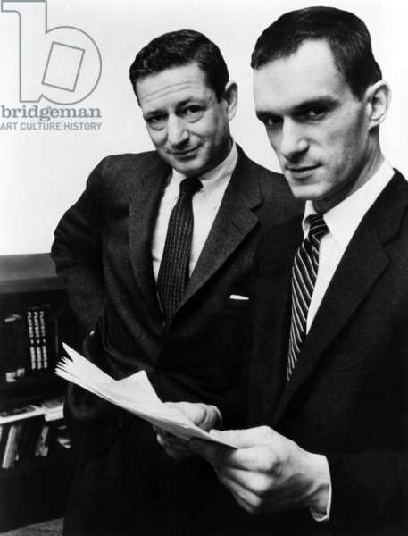 Author A.C. Spectorsky and Hugh Hefner, editor-publisher of Playboy Magazine, ca 1956.