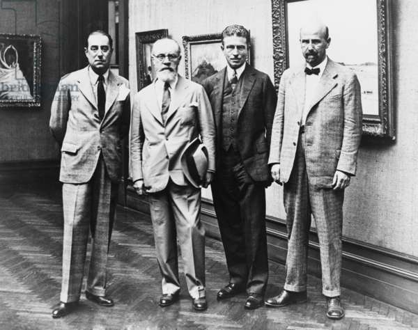 European artists, members of the jury of award for the 29th Carnegie Institute International in Washington in the Corcoran Art Gallery. Left to right: Glyn Philpot of London, Henri Matisse, Homer Saint Gaudens, director of fine arts of the Carnegie Institute, and Karl Sterrer of Vienna. 1930