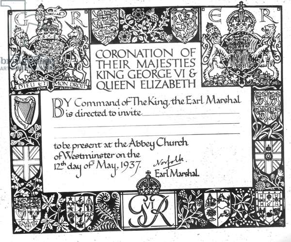 Invitation to the coronation of King George VI, and his wife Queen Elizabeth, the former Duchess of York, for the coronation, England, December May 12, 1937