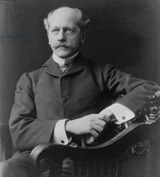 """Percival Lowell (1855-1916) American Astronomer, founder of the Lowell Observatory at Flagstaff, Arizona. """"In Mars and Its Canals"""" (1906) he proposed intelligent life shaped the topography of Mars"""