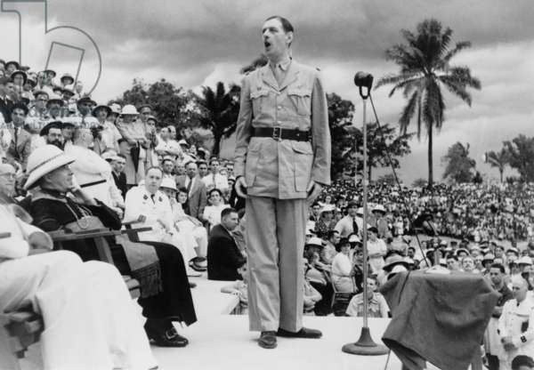 General Charles de Gaulle speaking at the African-French Conference in Brazzaville, Congo, 1944.