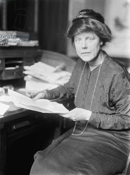 Lucy Burns (1879-1966), American women's rights advocate was a founder, with Alice Paul, of the National Woman's Party. Burns was an editor of THE SUFFRAGIST, and organizer of th March 3, 1913 Suffrage Parade in Washington, C.D. 1913