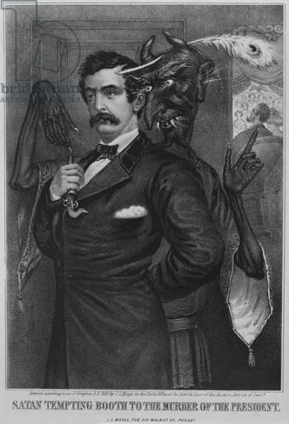 John Wilkes Booth, is goaded by a Mephistophelian figure to shoot President Abraham Lincoln, who is visible in a theater box beyond (right), original title: 'Satan tempting Booth to the murder of the President', lithograph by John L. Magee, c.1865