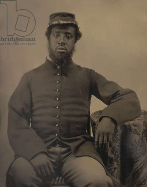 African American soldier in Civil War Union uniform, during the US Civil War, c. 1863-65