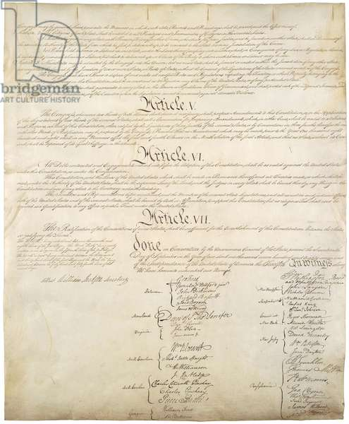 Constitution of the United States of Americ. Signature page of four pages of the National Archives copy created in the Constitutional Convention in 1787