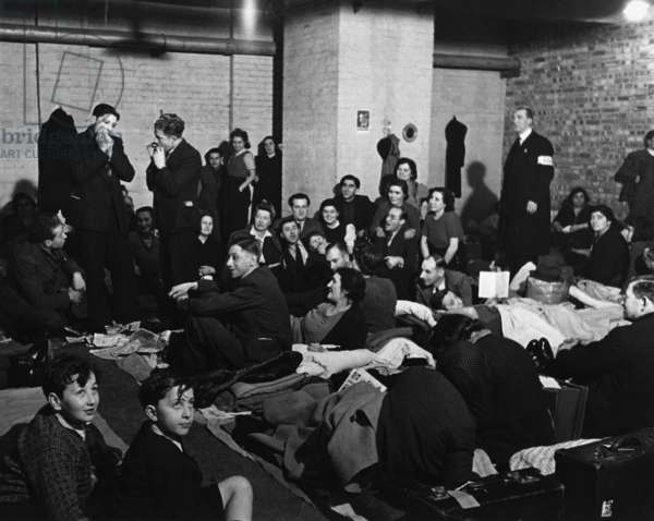 World War 2, Battle of Britain. London civilians in a West End bomb shelter during the Blitz. c. 1940-41