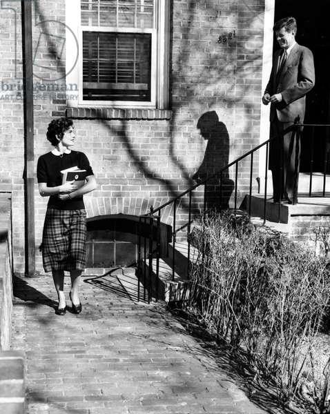 Jacqueline Kennedy and Senator John F. Kennedy, Georgetown University, 04-06-1954.