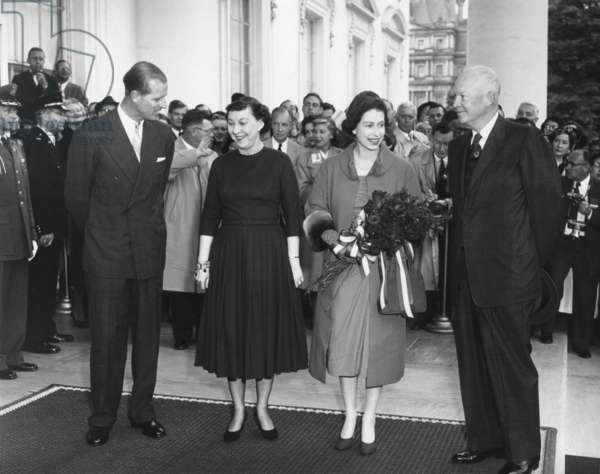 President and Mamie Eisenhower welcome Queen Elizabeth II and Prince Philip. At the White House North Portico. Oct. 17, 1957.