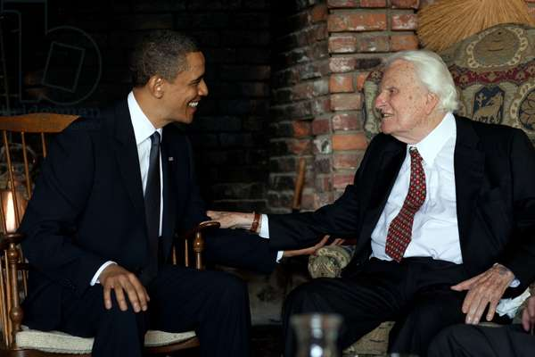 President Barack Obama meets with Rev. Billy Graham at his house in Montreat N.C. April 25 2010.,